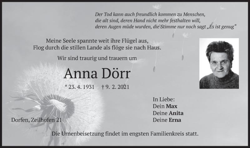 Traueranzeige für Anna Dörr vom 13.02.2021 aus merkurtz