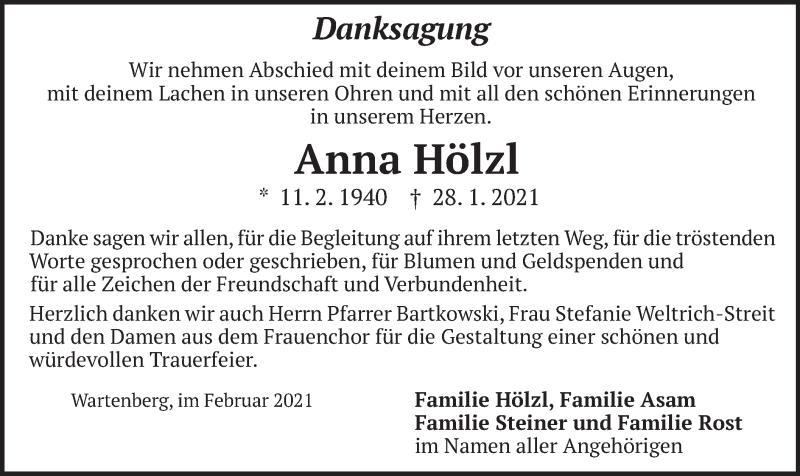 Traueranzeige für Anna Hölzl vom 18.02.2021 aus merkurtz