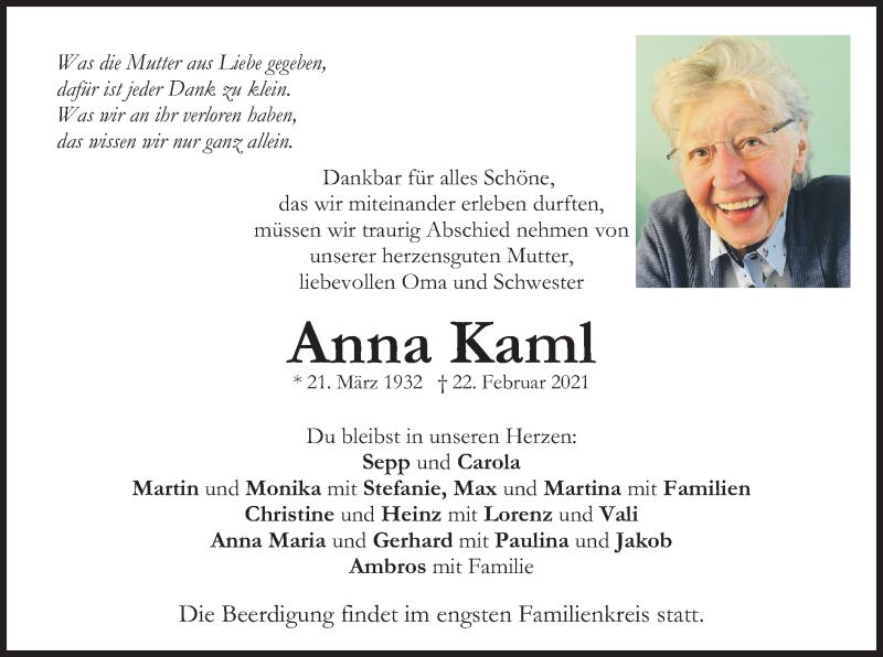 Traueranzeige für Anna Kaml vom 27.02.2021 aus merkurtz