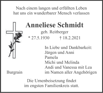 Traueranzeige von Anneliese Schmidt von merkurtz