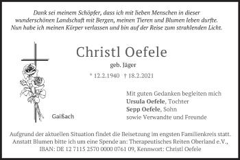 Traueranzeige von Christl Oefele von merkurtz