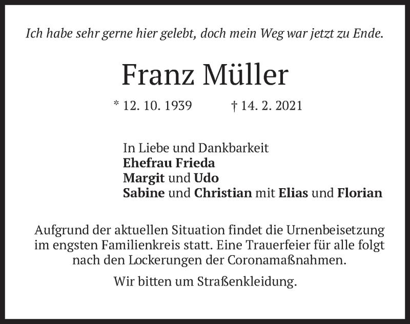 Traueranzeige für Franz Müller vom 20.02.2021 aus merkurtz