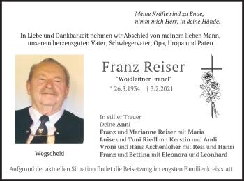 Traueranzeige von Franz Reiser von merkurtz