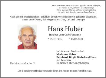 Traueranzeige von Hans Huber von merkurtz