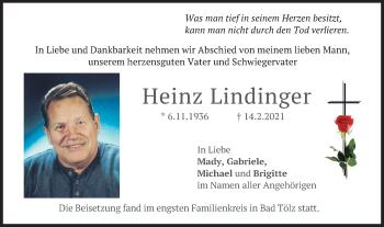 Traueranzeige von Heinz Lindinger von merkurtz