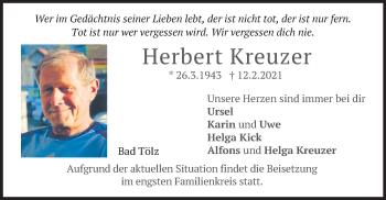 Traueranzeige von Herbert Kreuzer von merkurtz