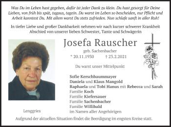 Traueranzeige von Josefa Rauscher von merkurtz
