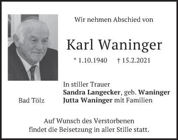 Traueranzeige von Karl Waninger von merkurtz
