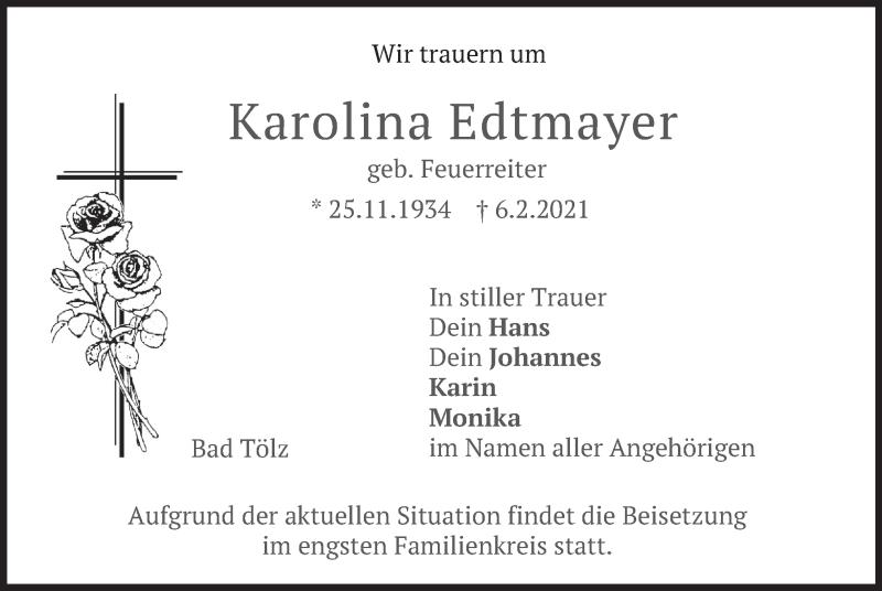 Traueranzeige für Karolina Edtmayer vom 23.02.2021 aus merkurtz