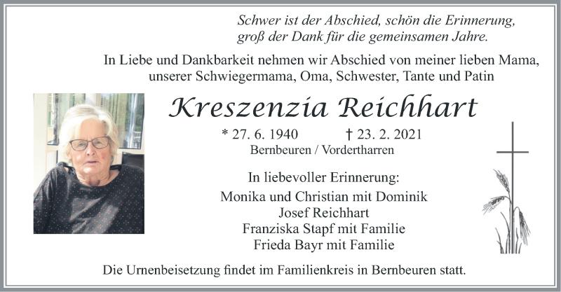 Traueranzeige für Kreszenzia Reichhart vom 26.02.2021 aus merkurtz