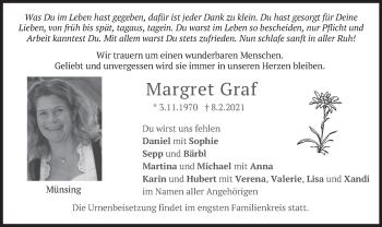 Traueranzeige von Margret Graf von merkurtz