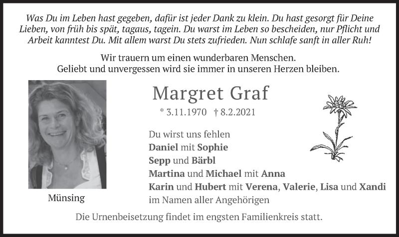 Traueranzeige für Margret Graf vom 20.02.2021 aus merkurtz