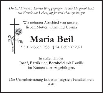 Traueranzeige von Maria Beil von merkurtz