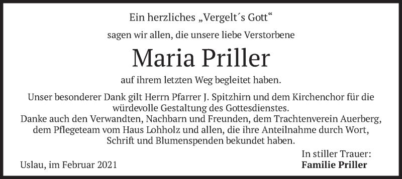 Traueranzeige für Maria Priller vom 06.02.2021 aus merkurtz