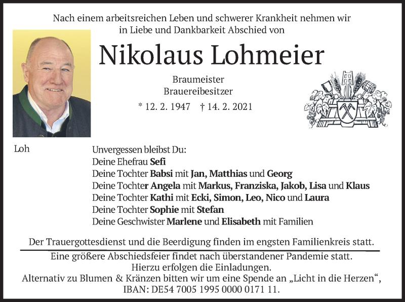 Traueranzeige für Nikolaus Lohmeier vom 17.02.2021 aus merkurtz