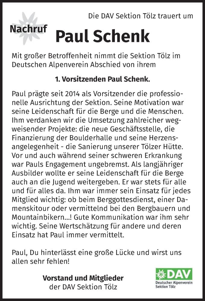 Traueranzeige für Paul Schenk vom 13.02.2021 aus merkurtz