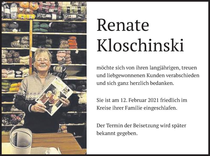 Traueranzeige für Renate Kloschinski vom 20.02.2021 aus merkurtz