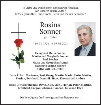 Traueranzeige von Rosina Sonner von merkurtz