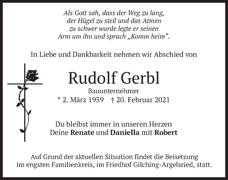 Traueranzeige für Rudolf Gerbl vom 23.02.2021 aus merkurtz