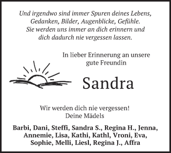 Traueranzeige von Sandra  von merkurtz