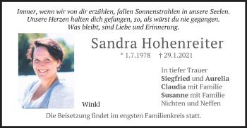 Traueranzeige von Sandra Hohenreiter von merkurtz