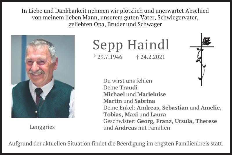 Traueranzeige für Sepp Haindl vom 27.02.2021 aus merkurtz