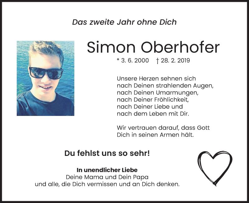 Traueranzeige für Simon Oberhofer vom 27.02.2021 aus merkurtz