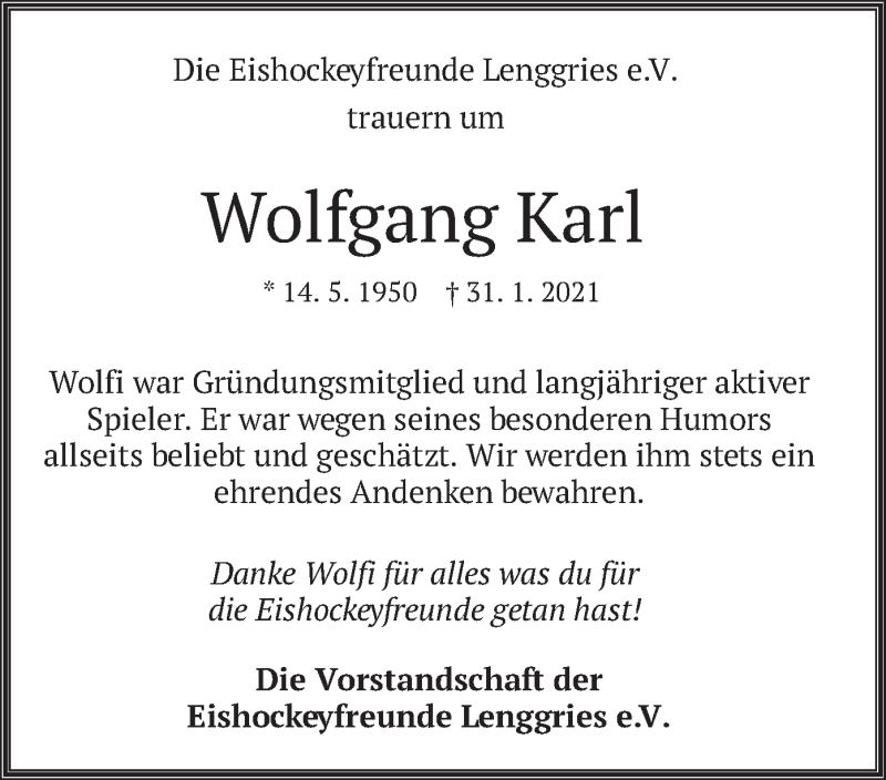 Traueranzeige für Wolfgang Karl vom 20.02.2021 aus merkurtz
