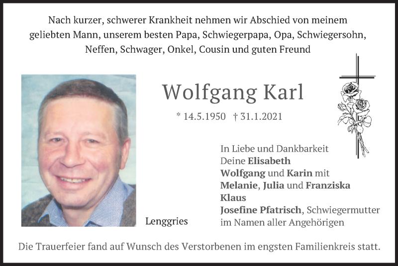 Traueranzeige für Wolfgang Karl vom 17.02.2021 aus merkurtz