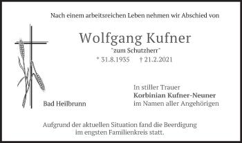 Traueranzeige von Wolfgang Kufner von merkurtz