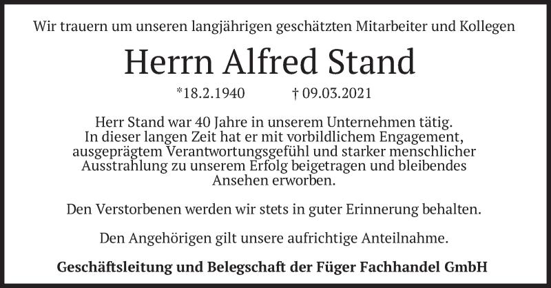 Traueranzeige für Alfred Stand vom 16.03.2021 aus merkurtz