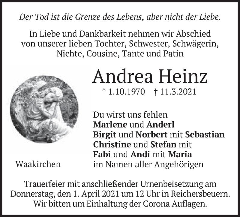 Traueranzeige für Andrea Heinz vom 30.03.2021 aus merkurtz