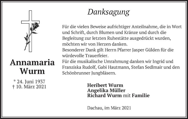 Traueranzeige für Annamaria Wurm vom 20.03.2021 aus merkurtz
