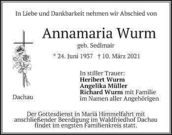 Traueranzeige von Annamaria Wurm von merkurtz