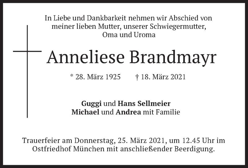 Traueranzeige für Anneliese Brandmayr vom 20.03.2021 aus merkurtz