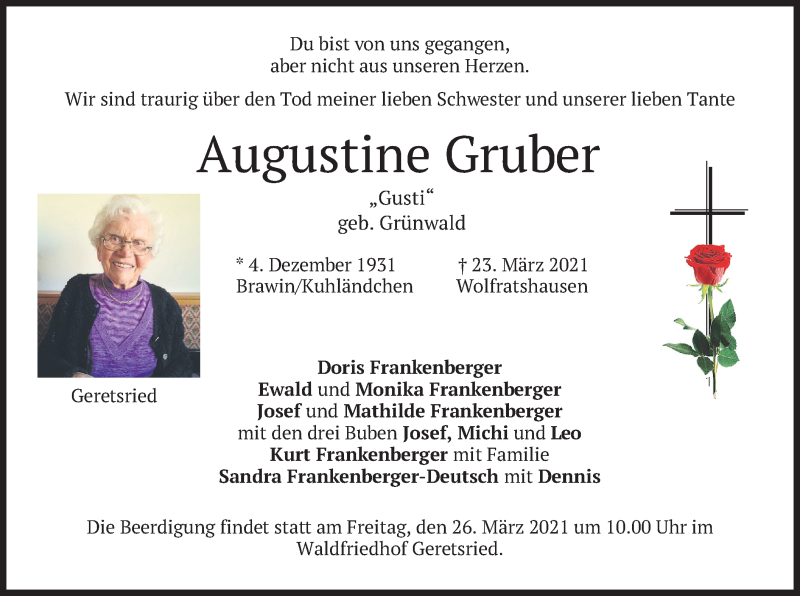 Traueranzeige für Augustine Gruber vom 25.03.2021 aus merkurtz