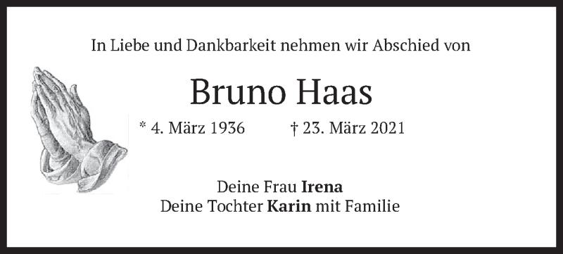 Traueranzeige für Bruno Haas vom 27.03.2021 aus merkurtz