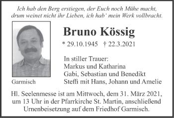 Traueranzeige von Bruno Kössig von merkurtz