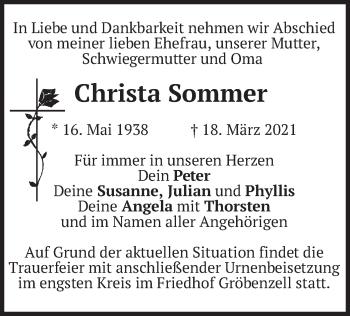 Traueranzeige von Christa Sommer von merkurtz