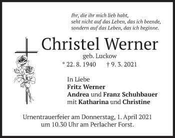 Traueranzeige von Christel Werner von merkurtz