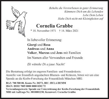 Traueranzeige von Cornelia Grabbe von merkurtz