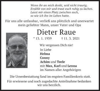 Traueranzeige von Dieter Raue von merkurtz