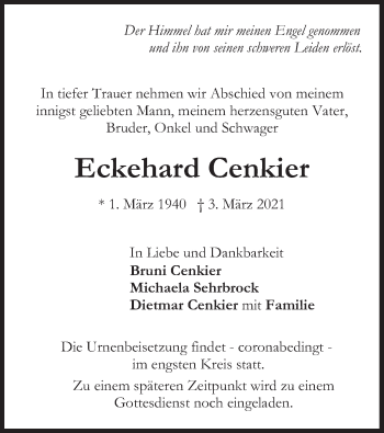 Traueranzeige von Eckehard Cenkier von merkurtz