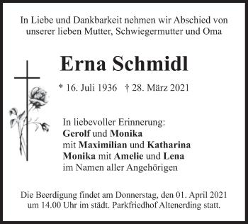 Traueranzeige von Erna Schmidl von merkurtz