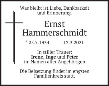 Traueranzeige von Ernst Hammerschmidt von merkurtz