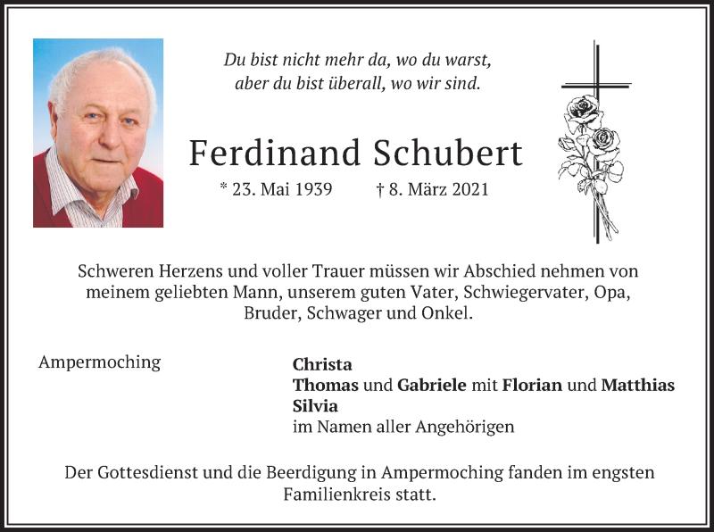Traueranzeige für Ferdinand Schubert vom 13.03.2021 aus merkurtz