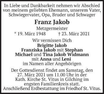Traueranzeige von Franz Jakob von merkurtz