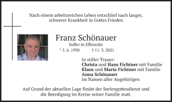 Traueranzeige von Franz Schönauer von merkurtz