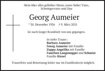 Traueranzeige von Georg Aumeier von merkurtz