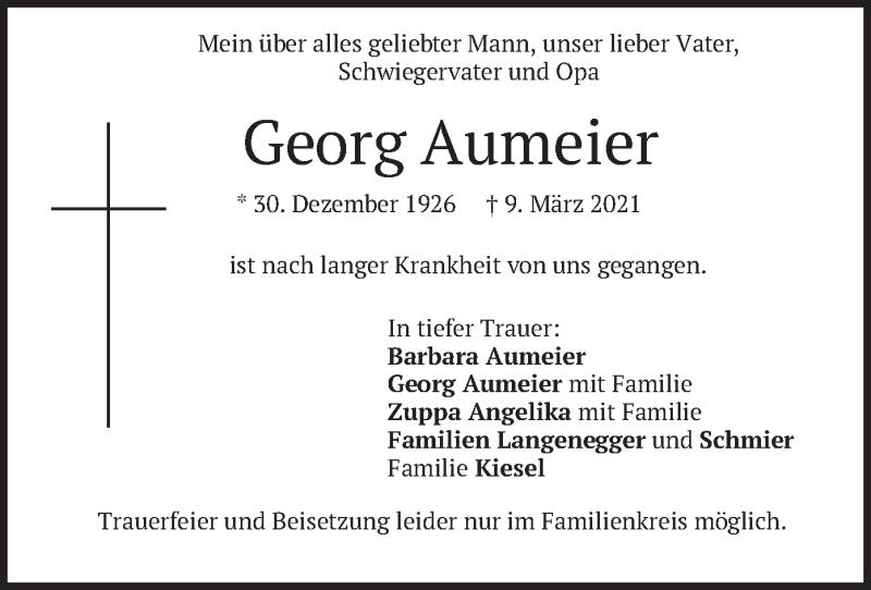 Traueranzeige für Georg Aumeier vom 13.03.2021 aus merkurtz